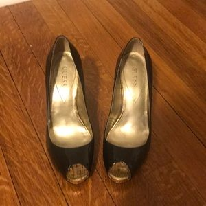 Guess Black Patent Peep Toe Heel. Size 7.